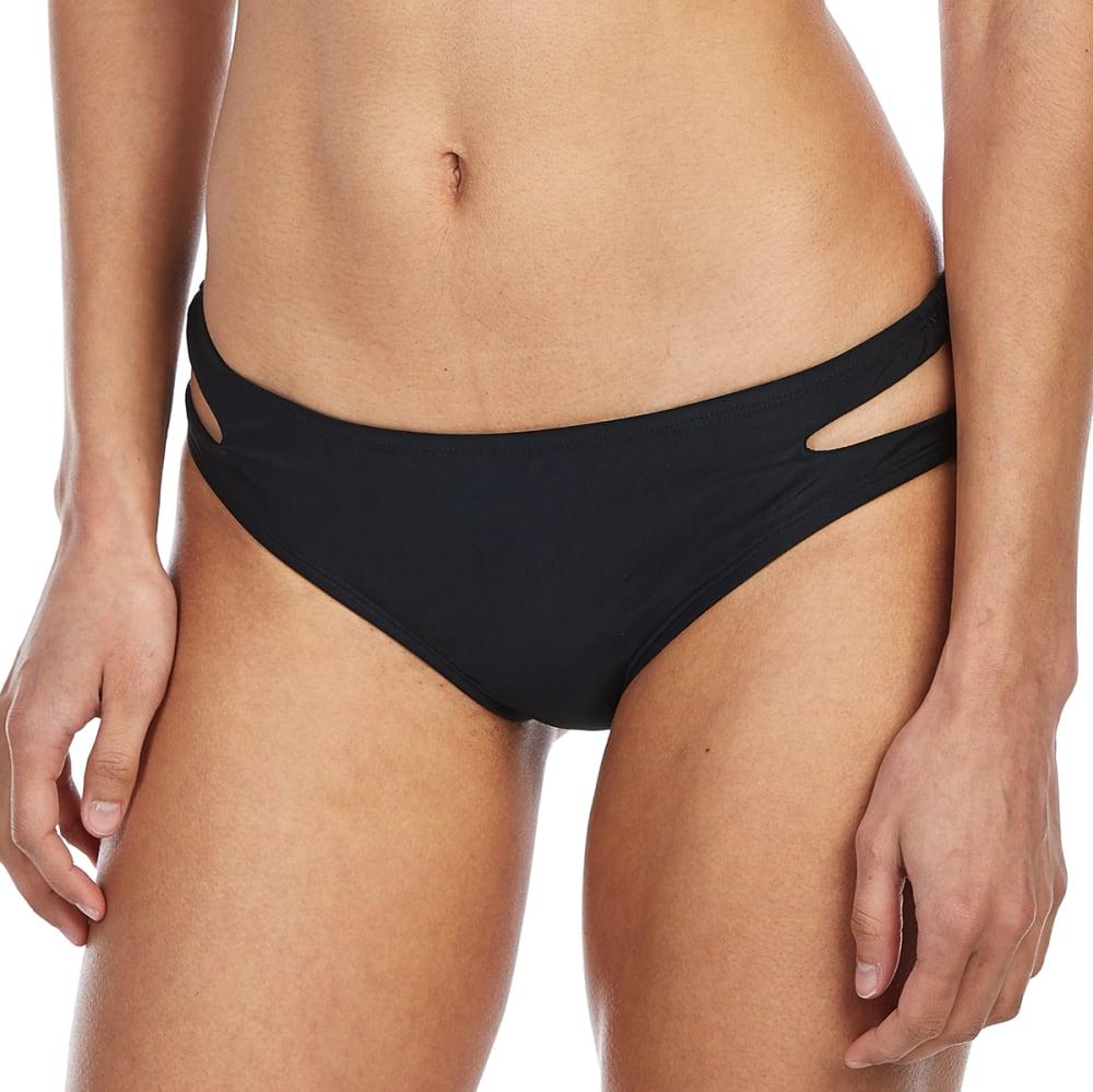 ISLAND SOUL Juniors' Solid Cutout Bikini Bottoms - BLACK