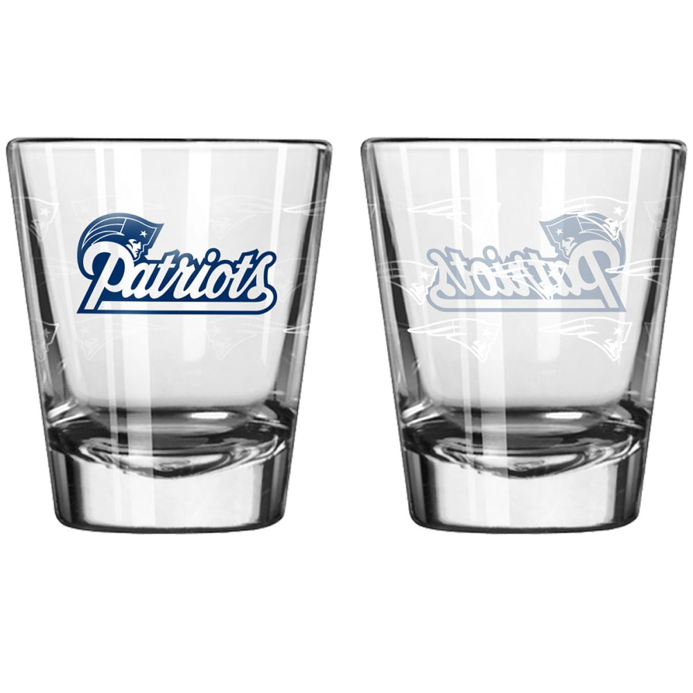 New England Patriots 2 Oz. Satin Etch Shot Glasses, 2-Pack