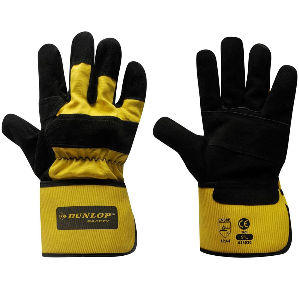DUNLOP Men's Rigger Deluxe Work Gloves - BLACK YELLOW