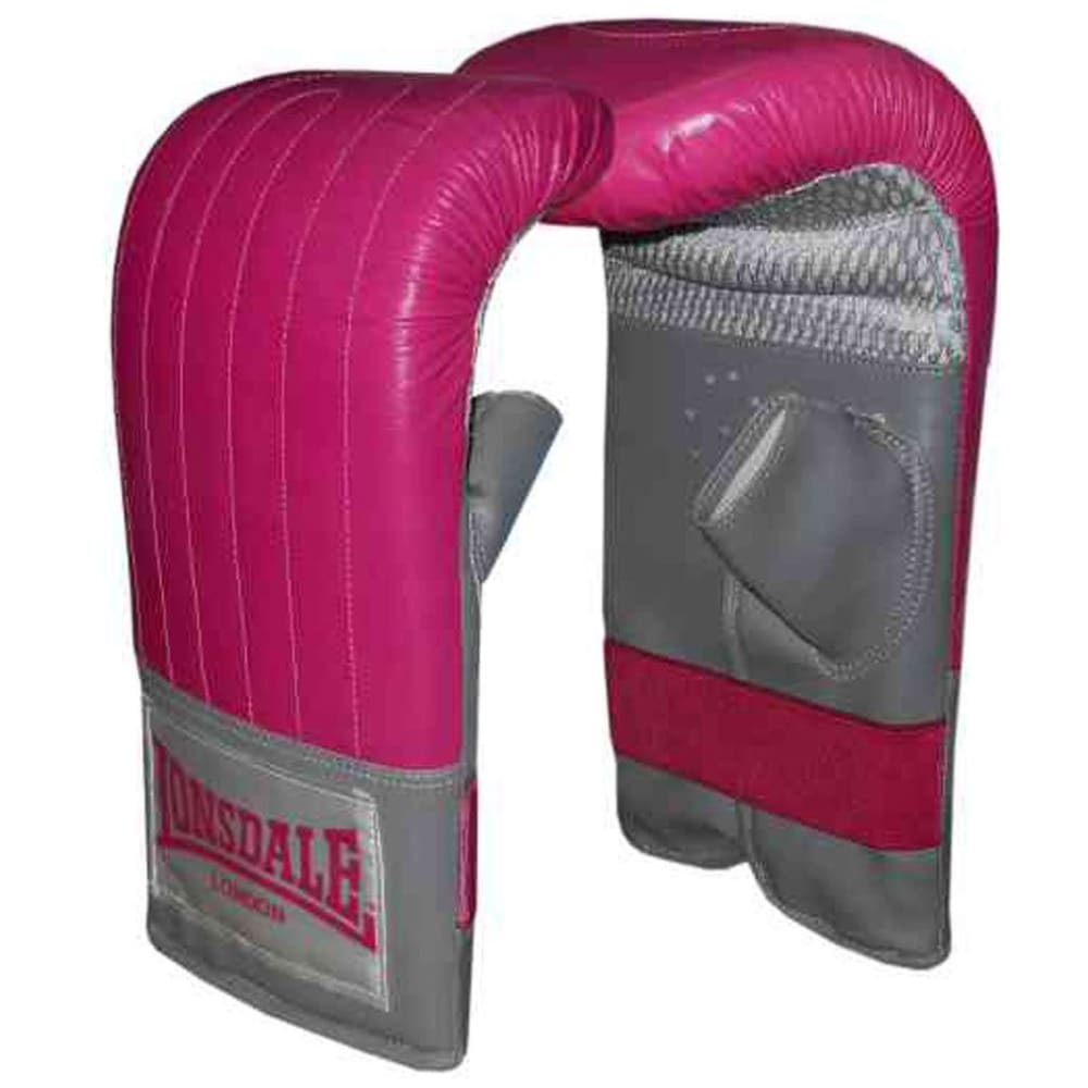 LONSDALE Women's Leather Mitts - PINK/GREY