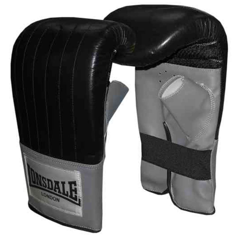 LONSDALE Leather Pro Bag Mitts - BLACK/GREY