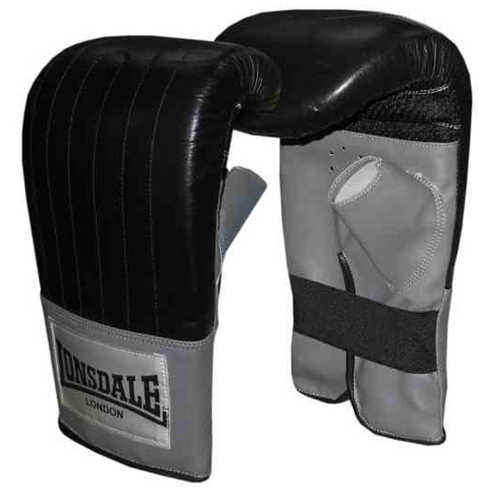 LONSDALE Leather Pro Bag Mitts - BLACK/GREY