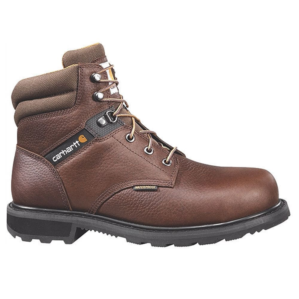 CARHARTT Men's 6 in. Waterproof Steel Toe Work Boots, Brown - BROWN PEBBLE OIL