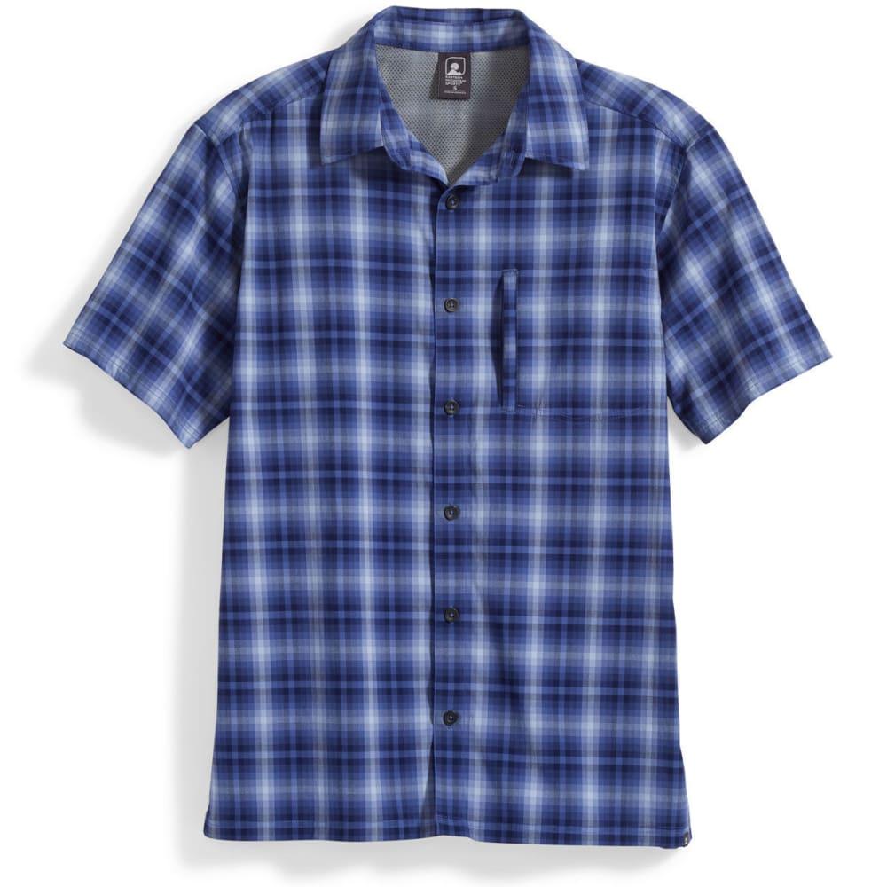 Ems Men's Journey Plaid Short-Sleeve Shirt - Blue, M