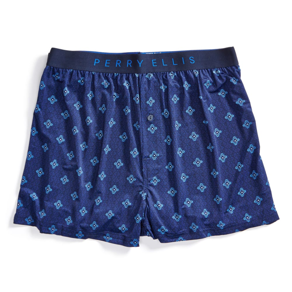PERRY ELLIS Men's Hanging Luxe Neat Print Boxer Shorts - NAVY 941
