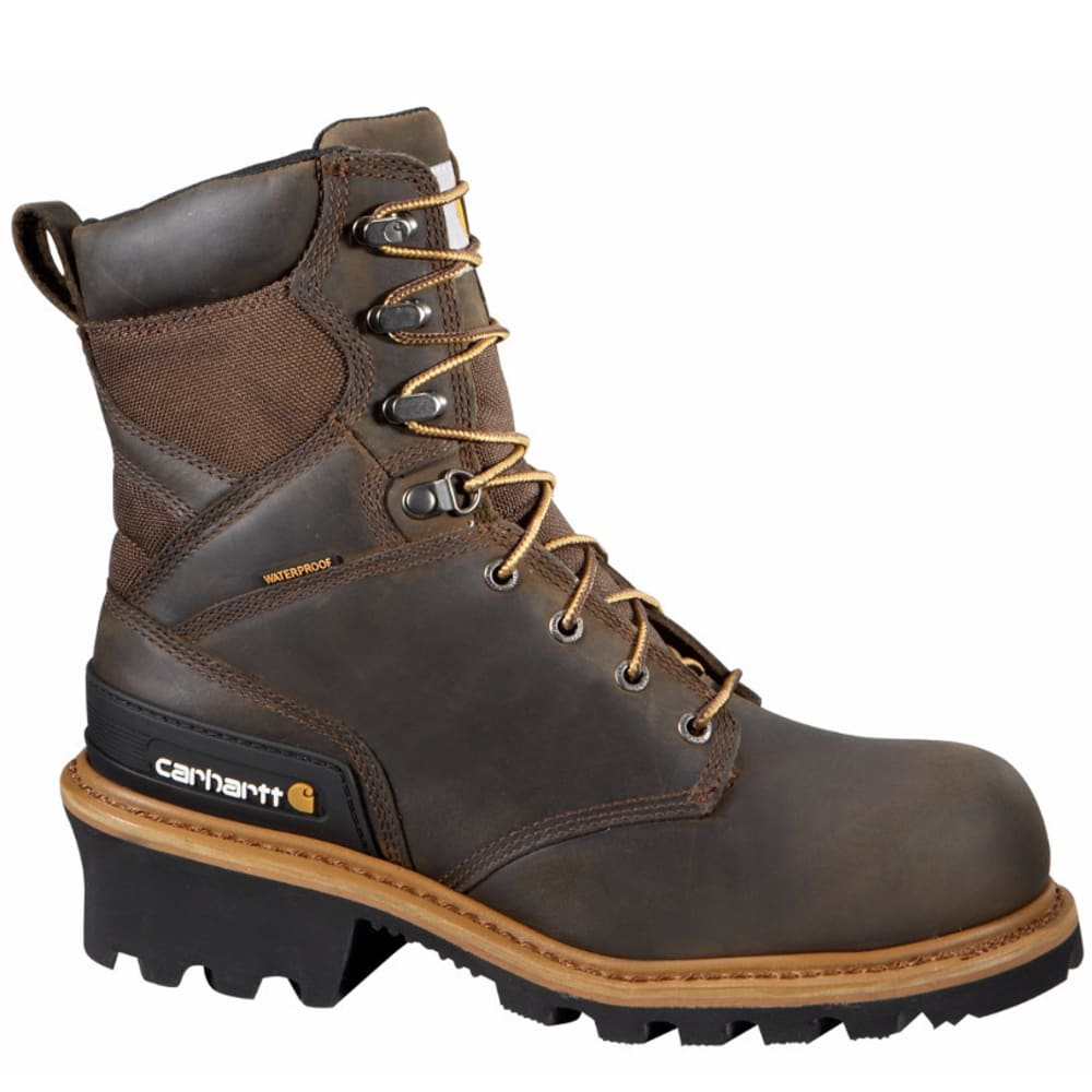 CARHARTT Men's 8-Inch Vintage Saddle Safety Toe Logger Boots - CRAZY HORSE BROWN