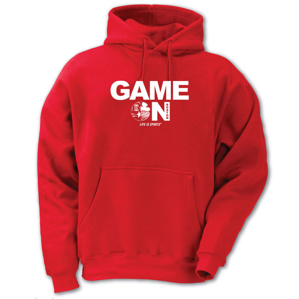 LIFE IS SPORTS Men's Game On Boston Pullover Hoodie - RED