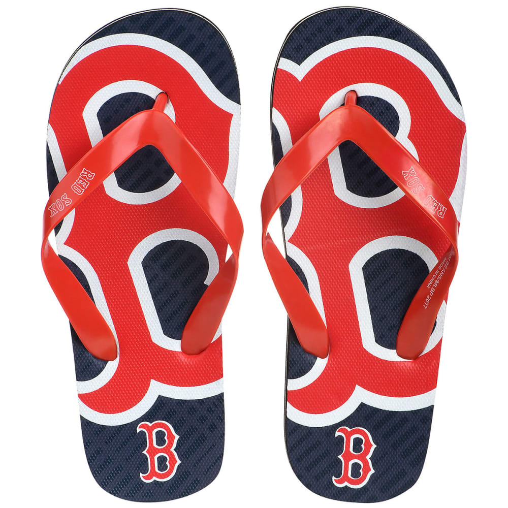 BOSTON RED SOX Big Boys' Double Logo Flip Flops - NAVY