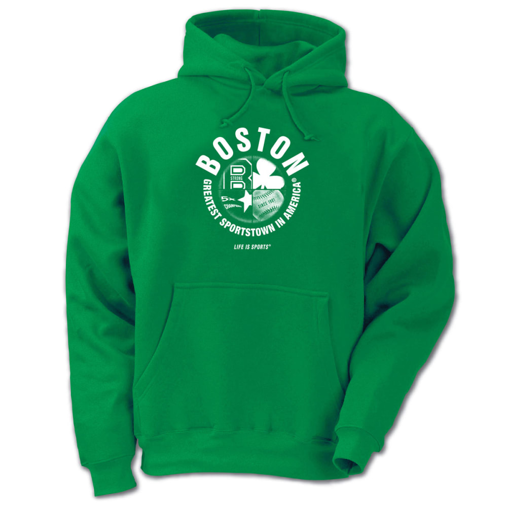 LIFE IS SPORTS Men's Boston Greatest Sportstown in America Pullover Hoodie - GREEN