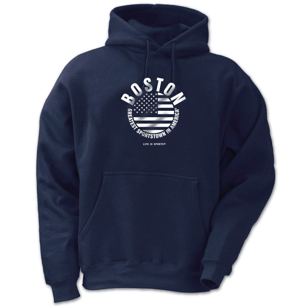 LIFE IS SPORTS Men's Boston Greatest Sportstown in America Circle Flag Pullover Hoodie - NAVY