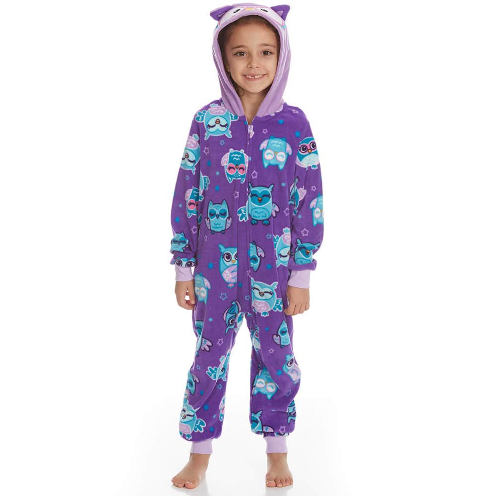 KOMAR Girls' Owl Blanket Sleeper Pajamas - PURPLE