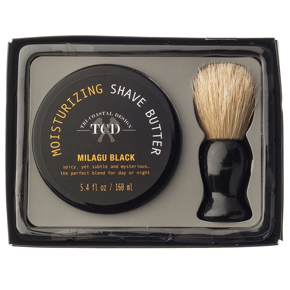 TRI-COASTAL DESIGN Shave Butter and Brush Set - 68413 MILAGU BLACK