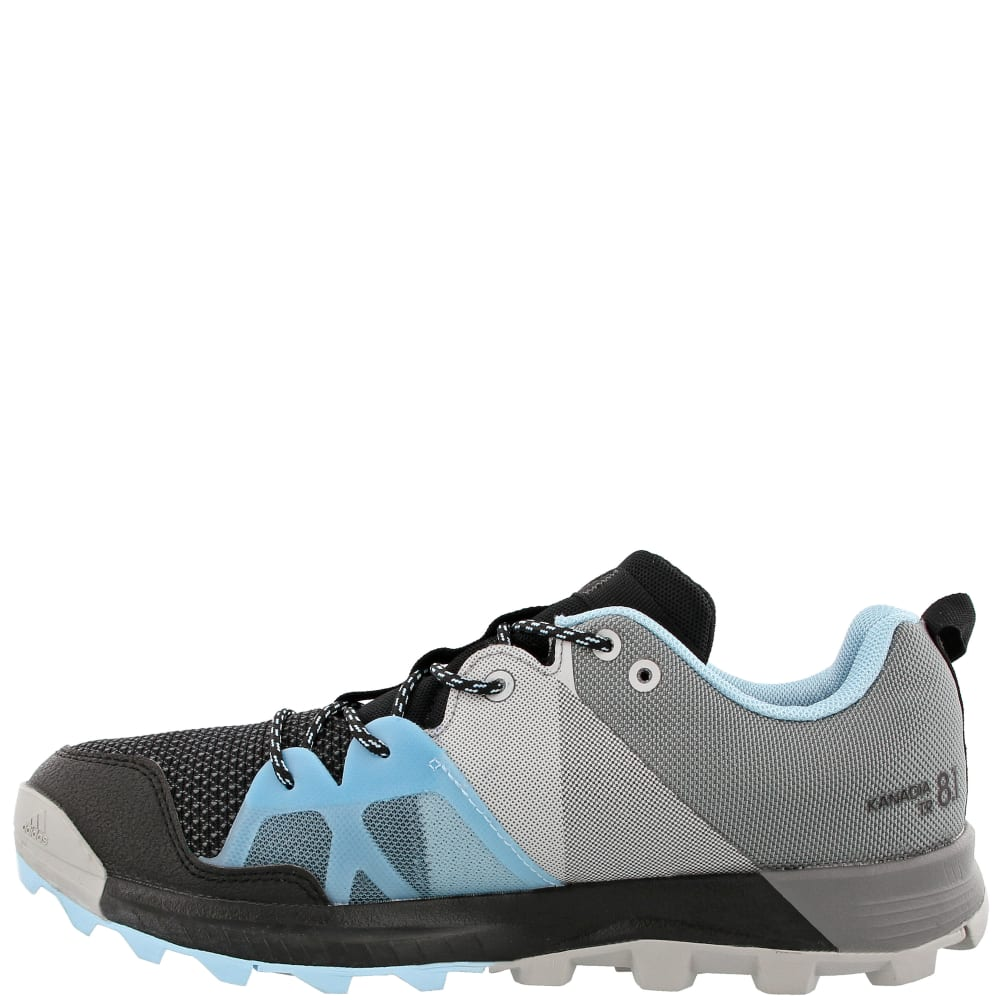 ADIDAS Women's Kanadia 8.1 Trail Running Shoes, Black/Black/Icey Blue - BLACK/BLACK/BLUE