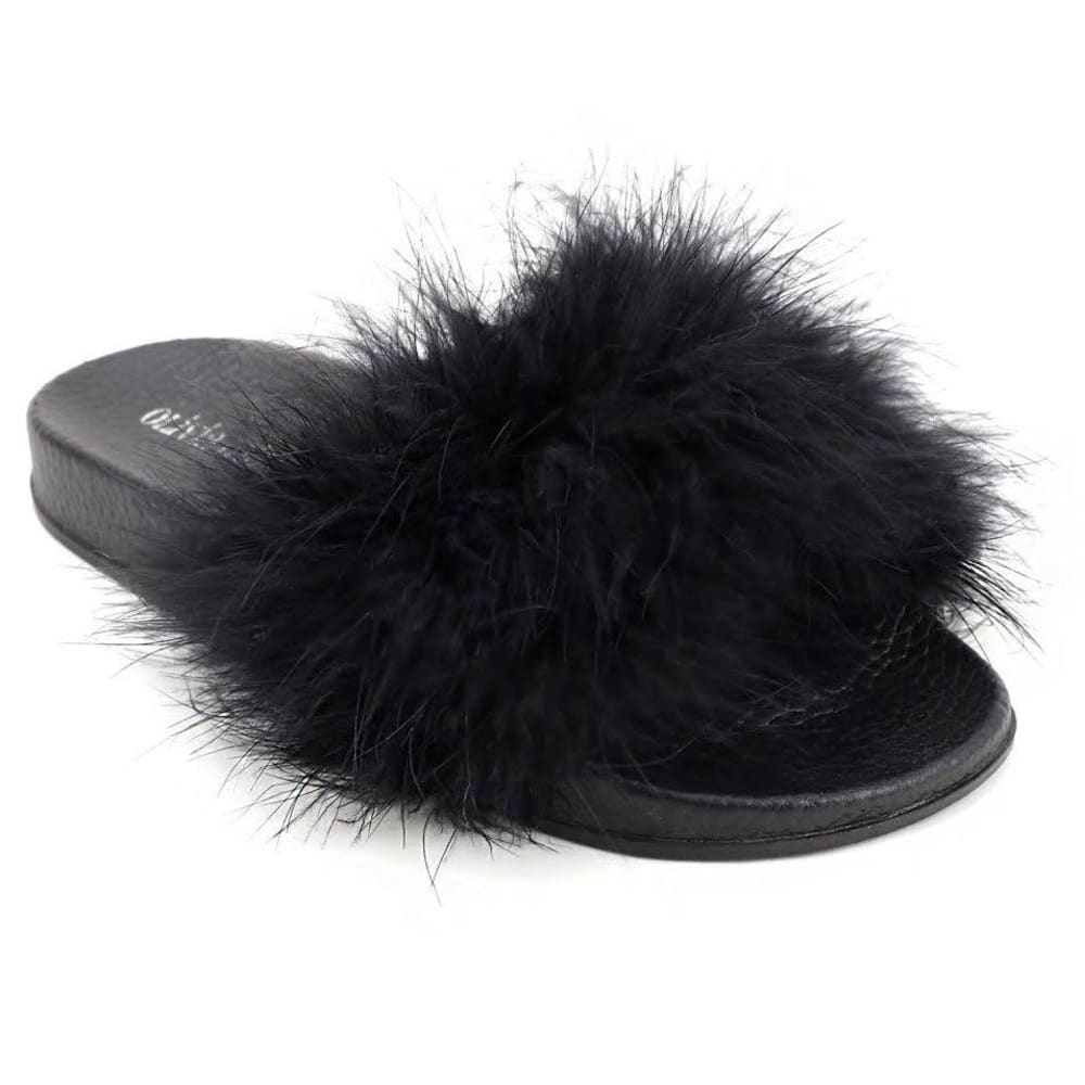 OLIVIA MILLER Women's Faux Fur Slides, Black - BLACK