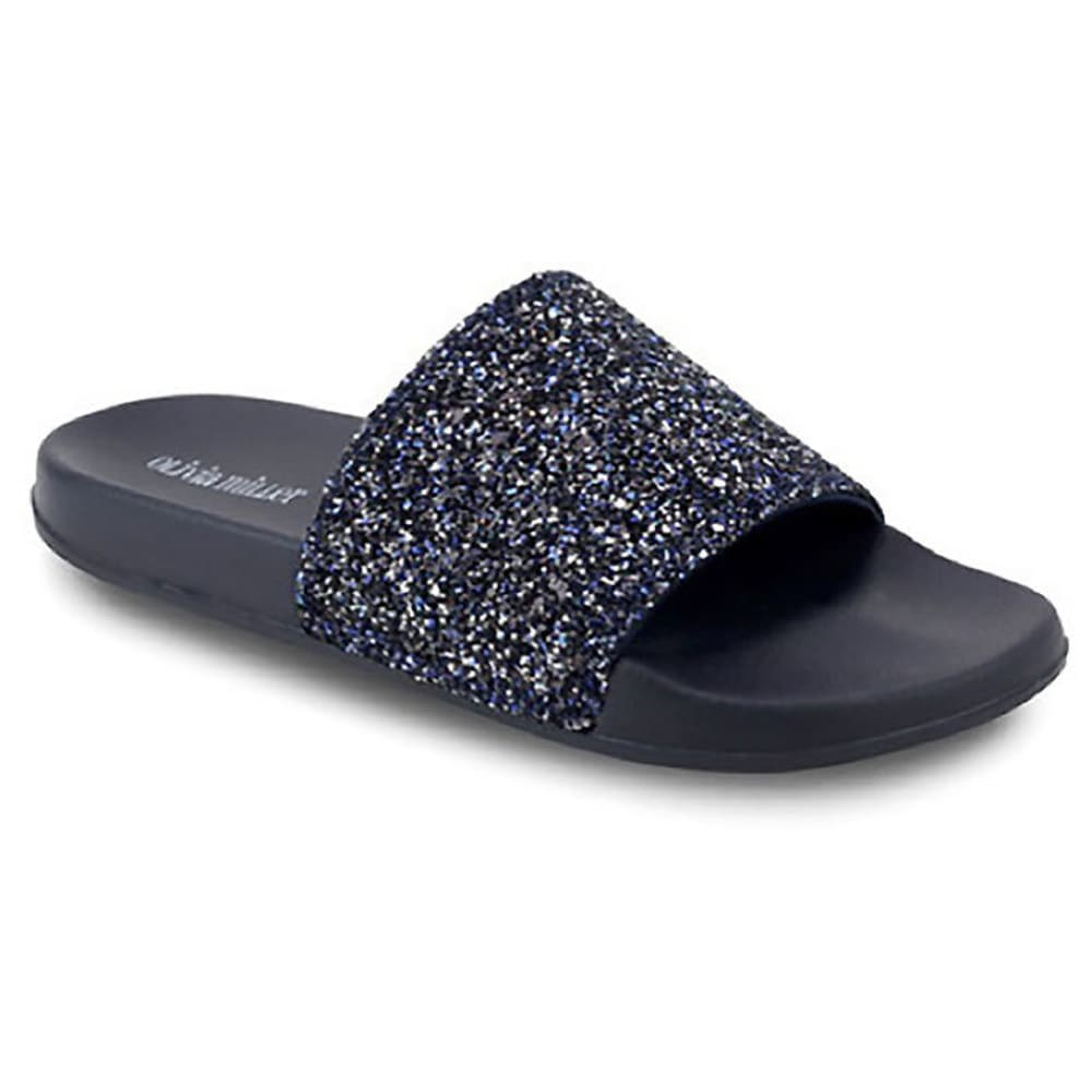 OLIVA MILLER Women's Glitter Slides, Navy - NAVY