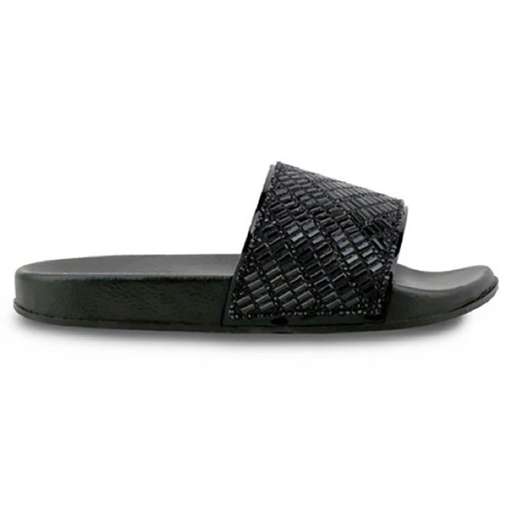 OLIVIA MILLER Women's Gem Slides, Black - BLACK