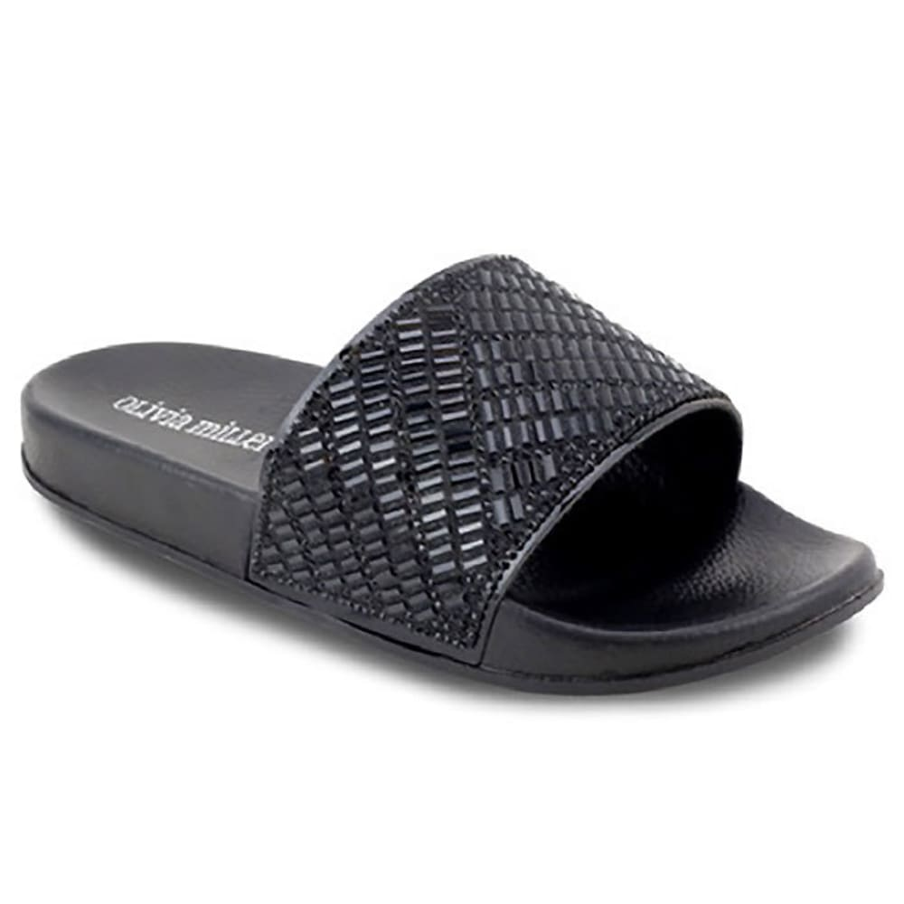 OLIVIA MILLER Women's Gem Slides, Black - BLACK