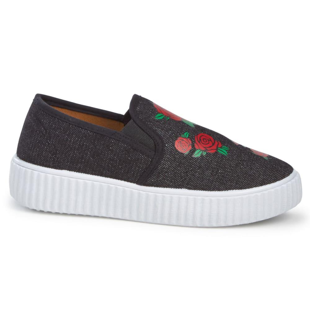 OLIVIA MILLER Girls' Rose Embroidered Slip-On Casual Shoes, Black - BLACK