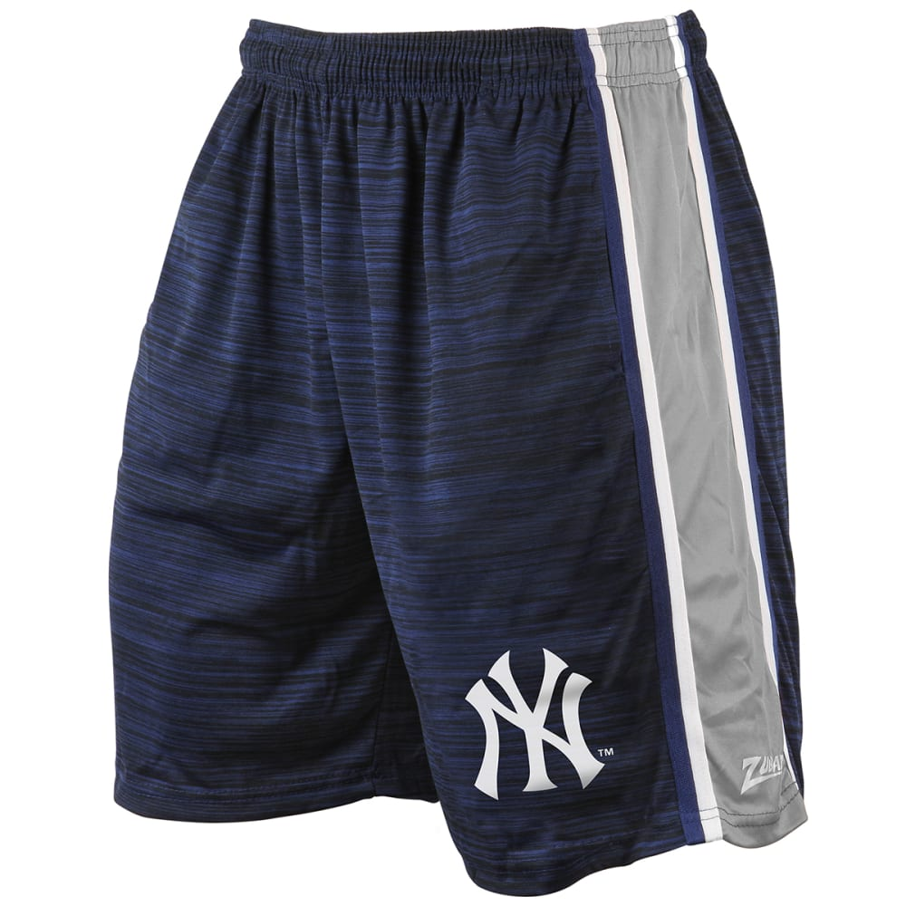 NEW YORK YANKEES Men's Space-Dye Side Stripe Synthetic Shorts - BLUE