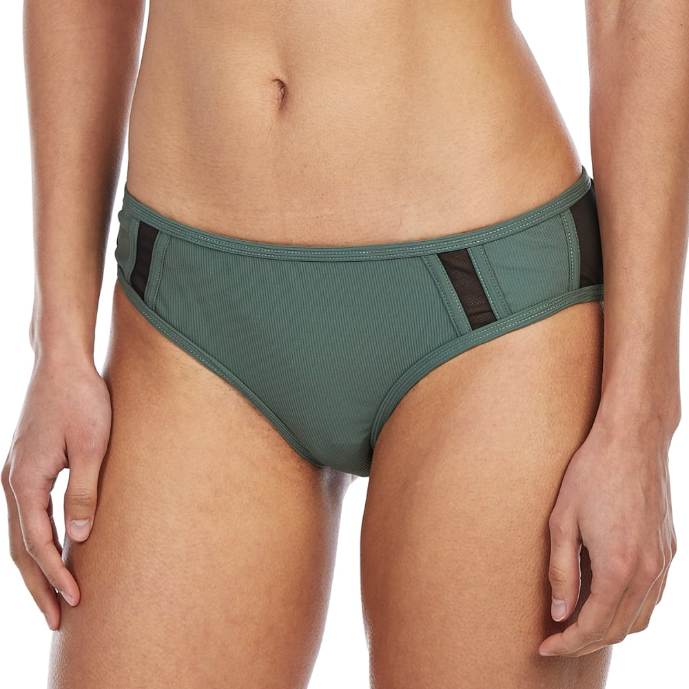99 DEGREES Juniors' Sporty Mesh Panel Hipster Bikini Bottoms - ARMY TEXTURE