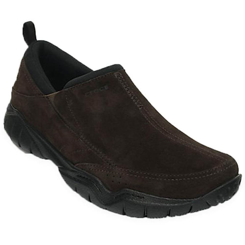 Crocs Men's Swiftwater Suede Moc Casual Shoes, Espresso - Brown, 8