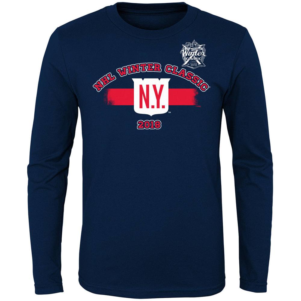 NEW YORK RANGERS Big Boys' 2018 Winter Classic Stripes Long-Sleeve Tee - NAVY