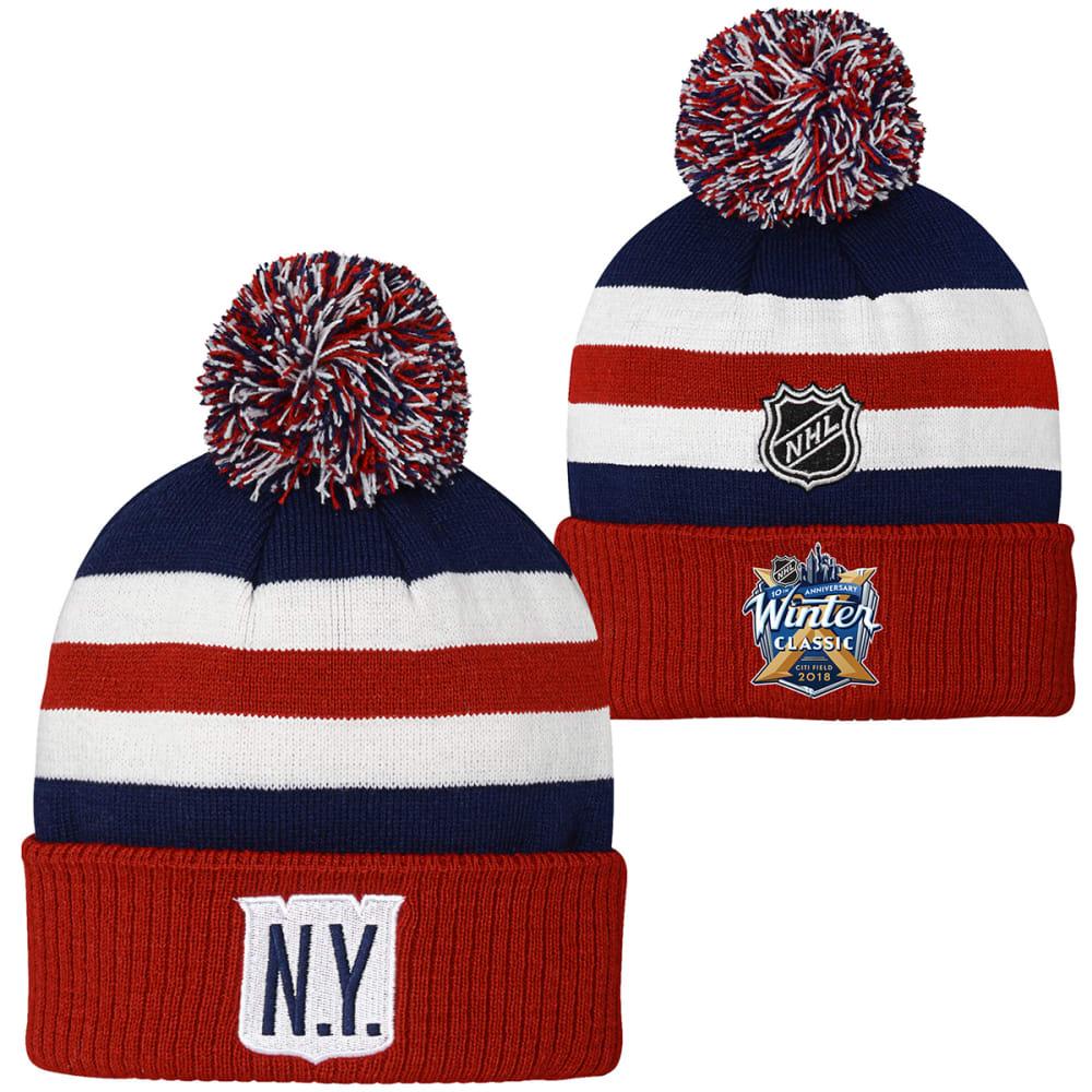 NEW YORK RANGERS Big Kids' 2018 Winter Classic Cuffed Knit Pom Beanie - NAVY