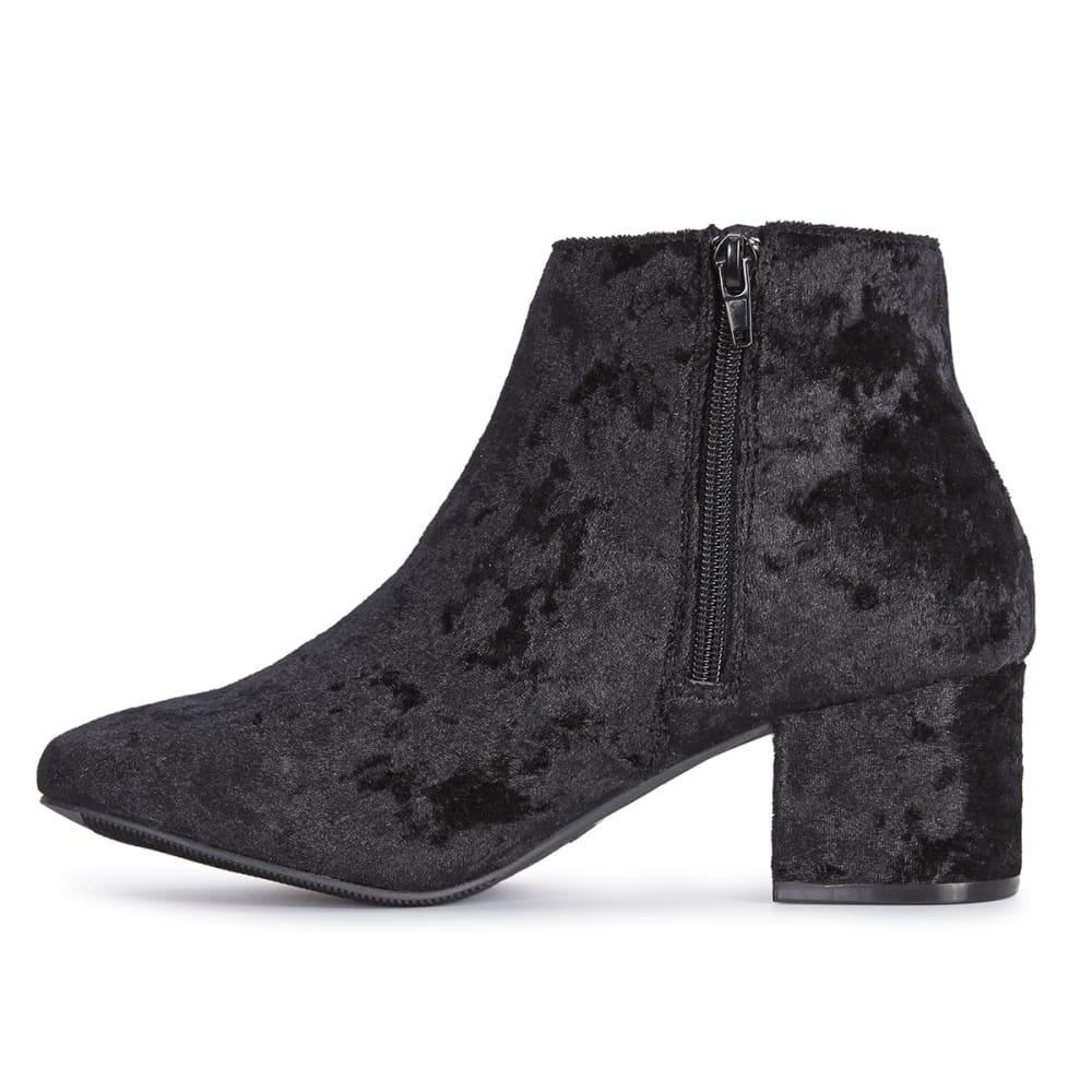 QUPID Women's Wenona-01 Crushed Velvet Booties, Black - BLACK