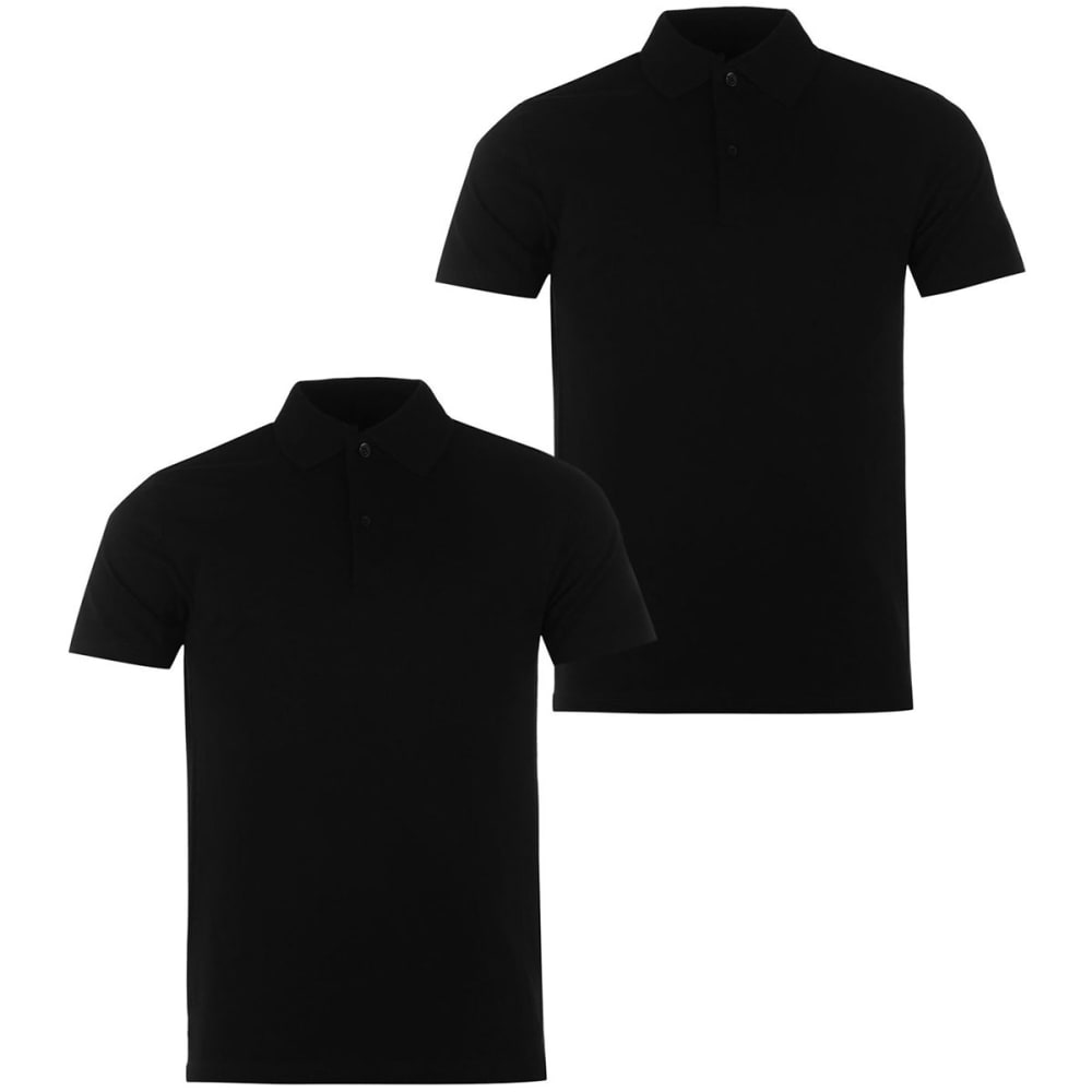 Donnay Men's Short-Sleeve Polo Shirts, 2 Pack - Black, L