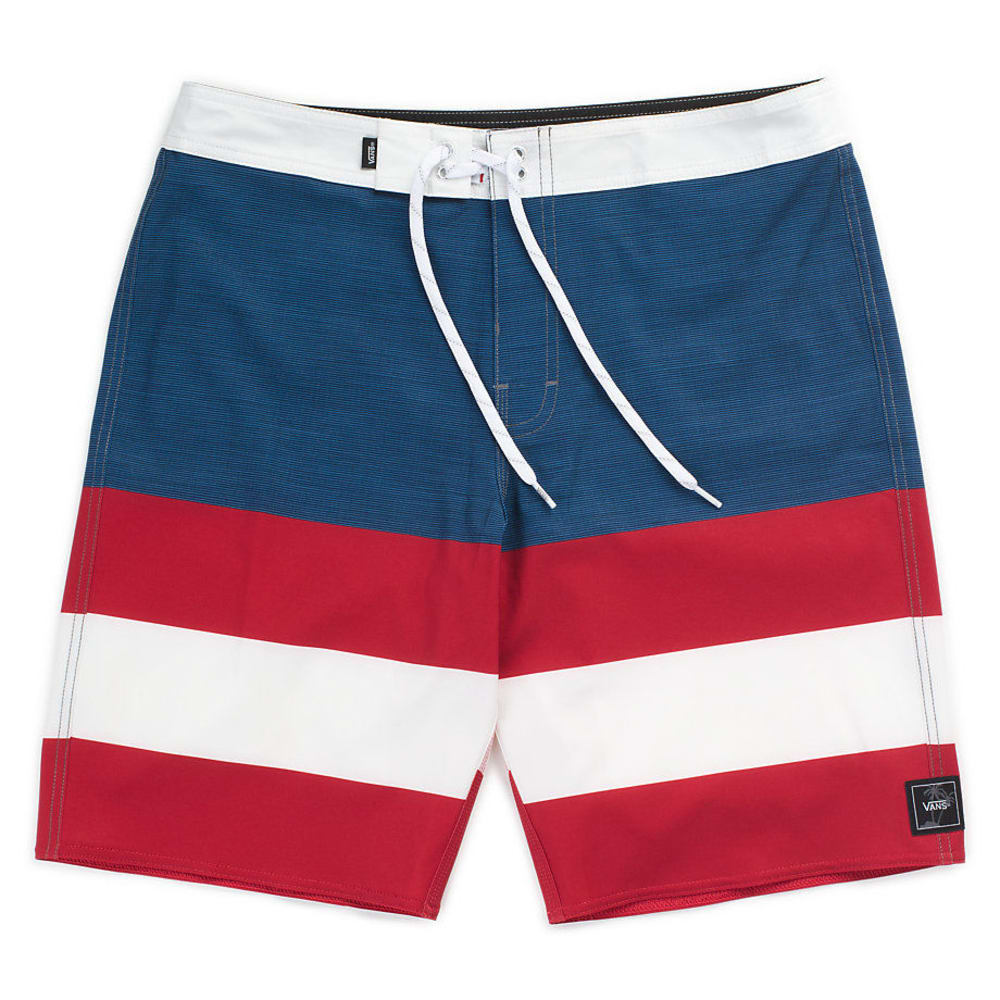 VANS Boys' Era Stripe Boardshorts - DRESS BLUE/CHILI
