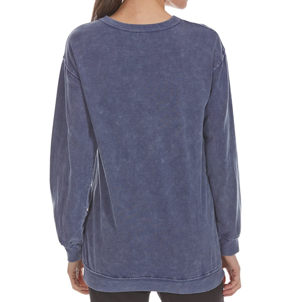 COLD CRUSH Juniors' Fleece Long-Sleeve Tunic Top with Grommets - MOOD INDIGO