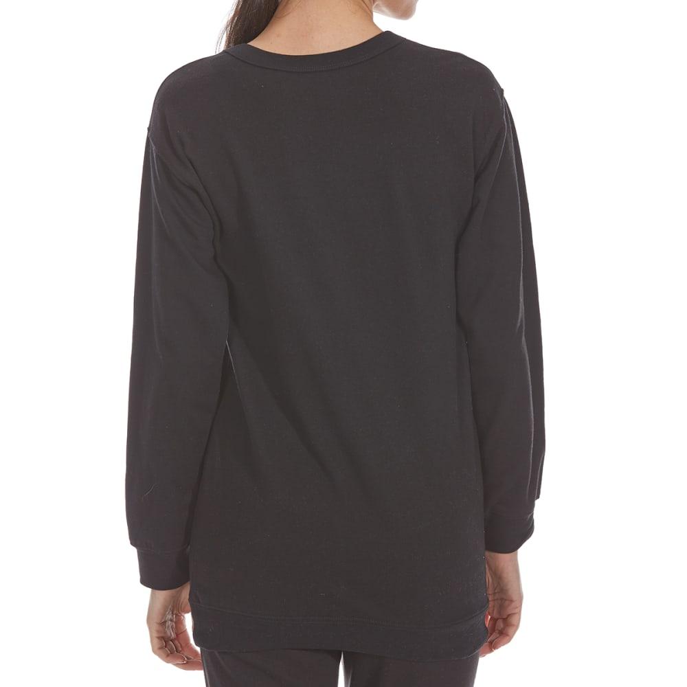 COLD CRUSH Juniors' Don't Bother Gigi Fleece Long-Sleeve Tunic Top - PHANTOM