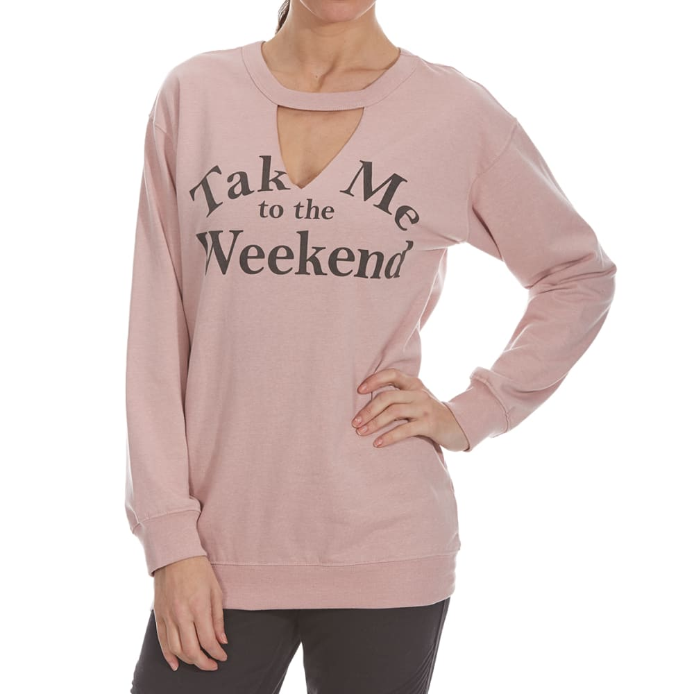 COLD CRUSH Juniors' Take Me To the Weekend Gigi Fleece Long-Sleeve Tunic Top - MAUVE