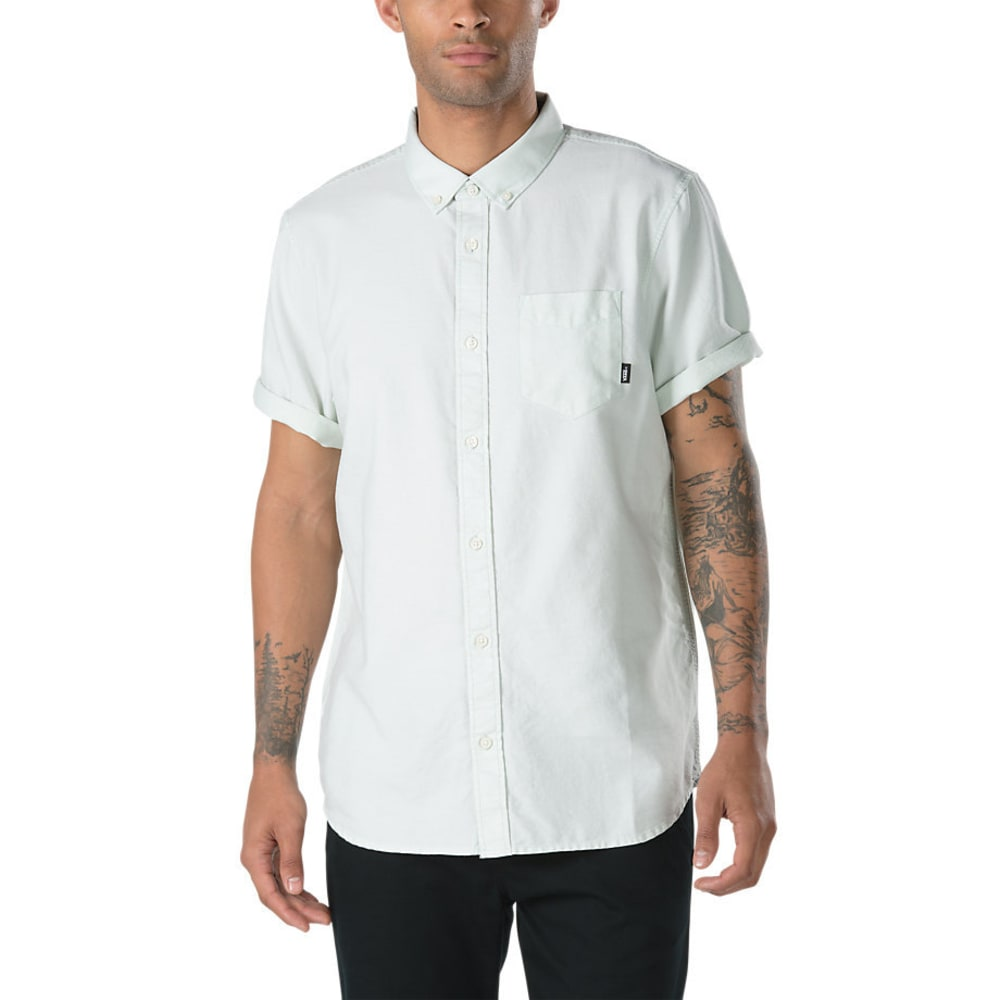 Vans Guys' Houser Solid Woven Short-Sleeve Shirt - Green, L