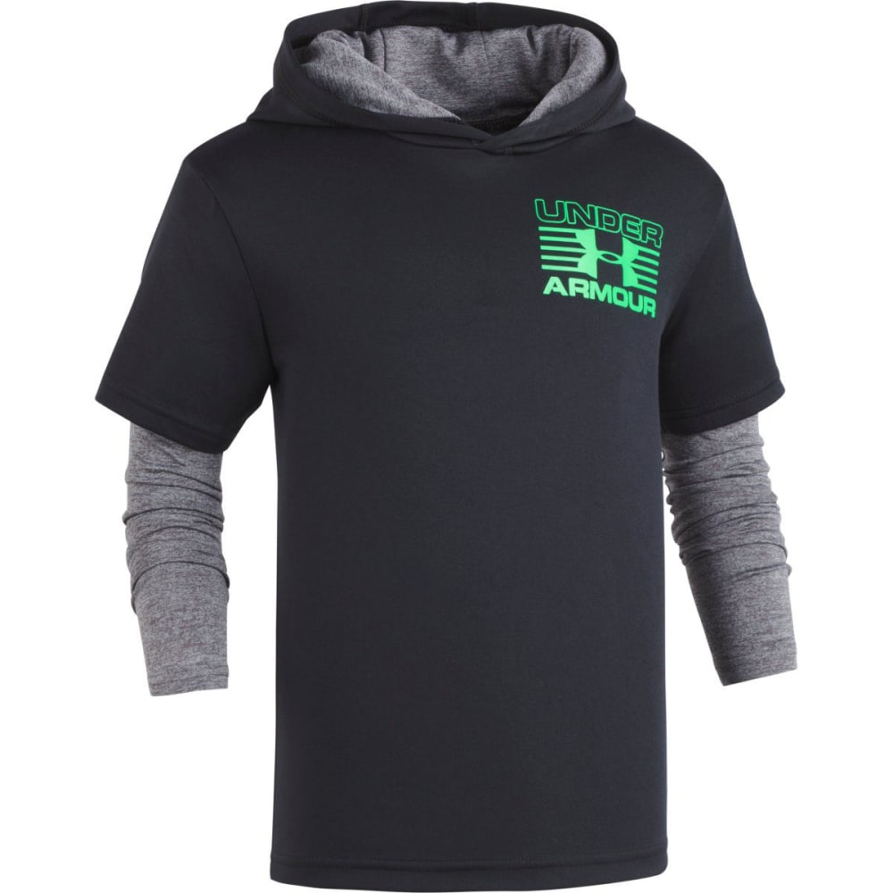 UNDER ARMOUR Little Boys' UA Tech 2Fer Pullover Hoodie - BLACK/GREEN-01