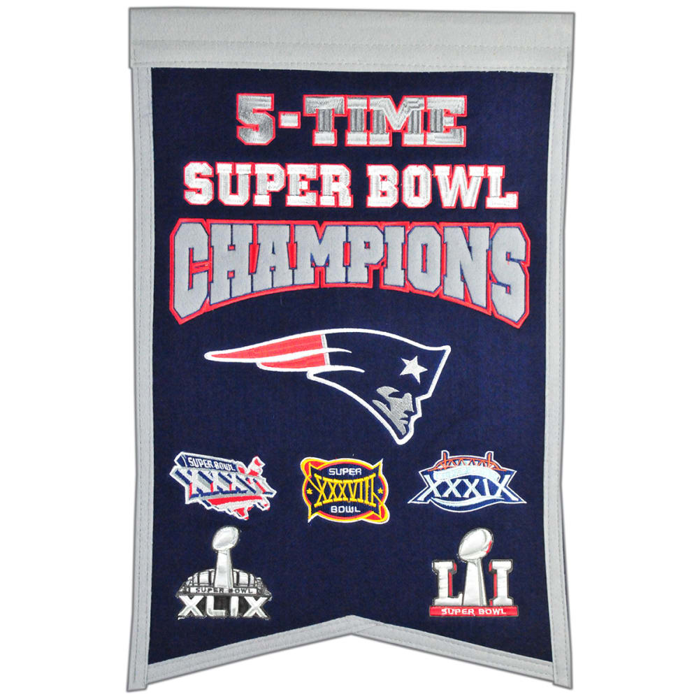 NEW ENGLAND PATRIOTS 5X Super Bowl Champions Banner NO SIZE
