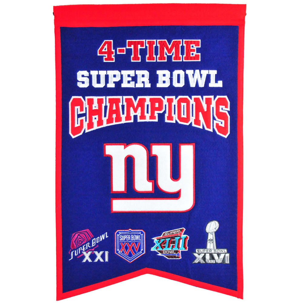 NEW YORK GIANTS 4-Time Super Bowl Champions Banner - NO COLOR