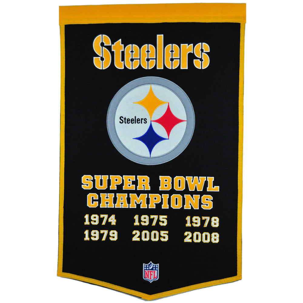 PITTSBURGH STEELERS Super Bowl Champions Dynasty Banner - NO COLOR