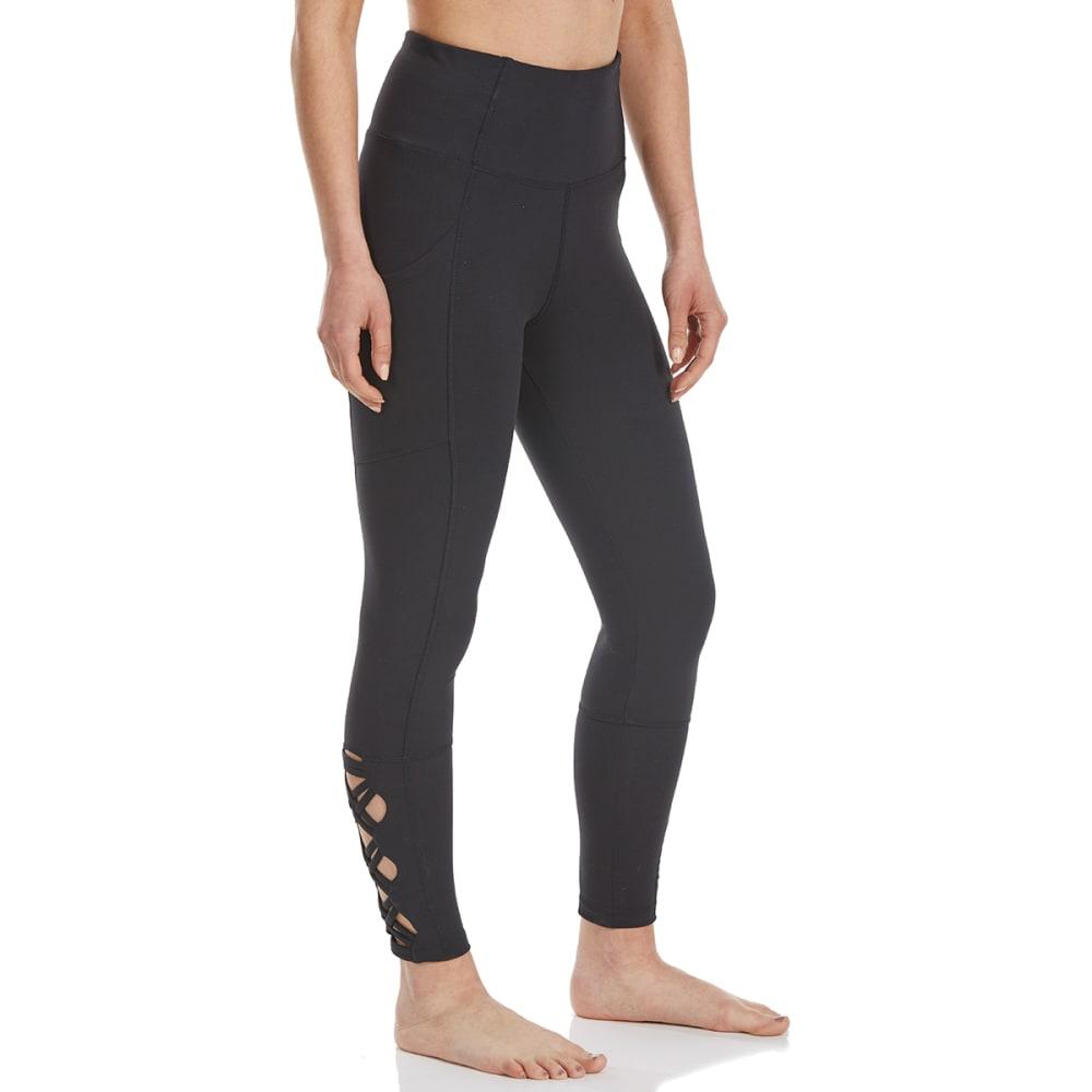 MARIKA Women's Tummy Control Side Pocket Laced Ankle Leggings - BLACK-001