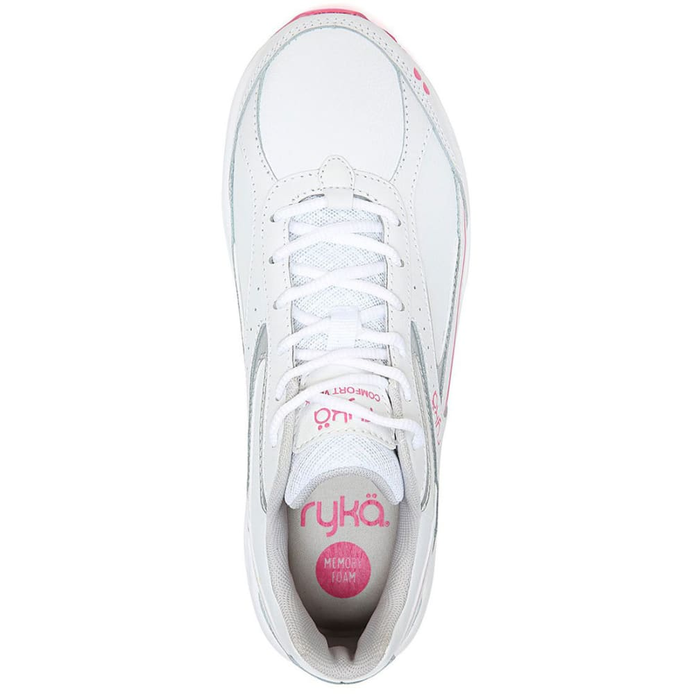 RYKA Women's Comfort Walk Walking Shoes, White/Pink - WHITE