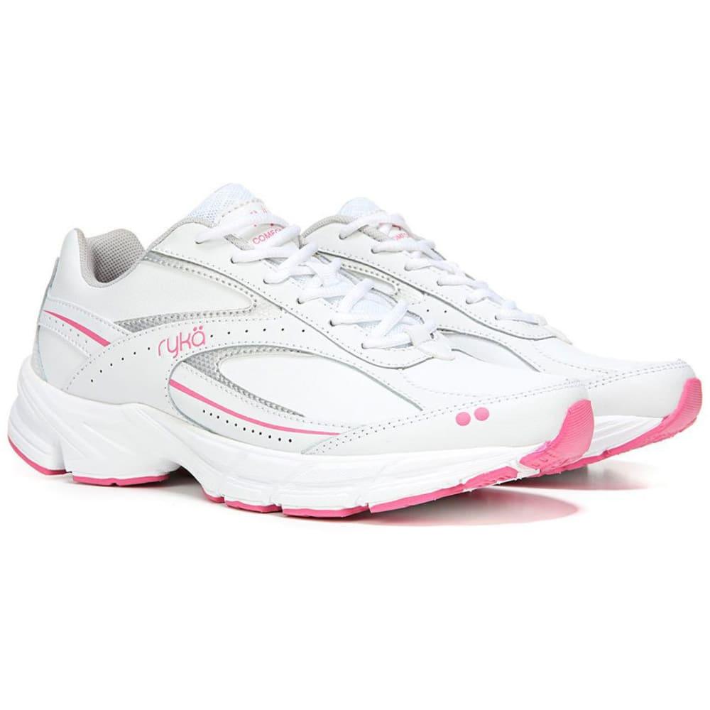 RYKA Women's Comfort Walk Walking Shoes, White/Pink, Wide - WHITE