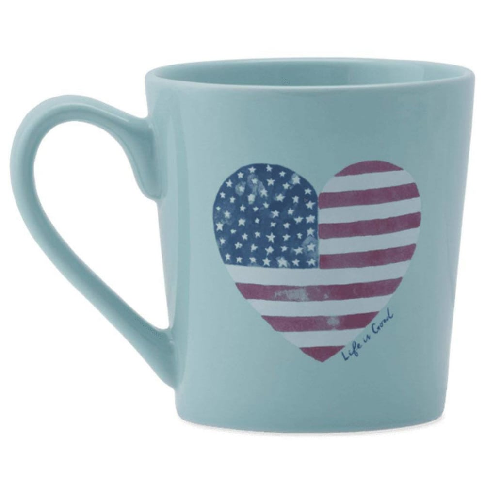 LIFE IS GOOD Flag Heart Watercolor Everyday Mug - COOL AQUA