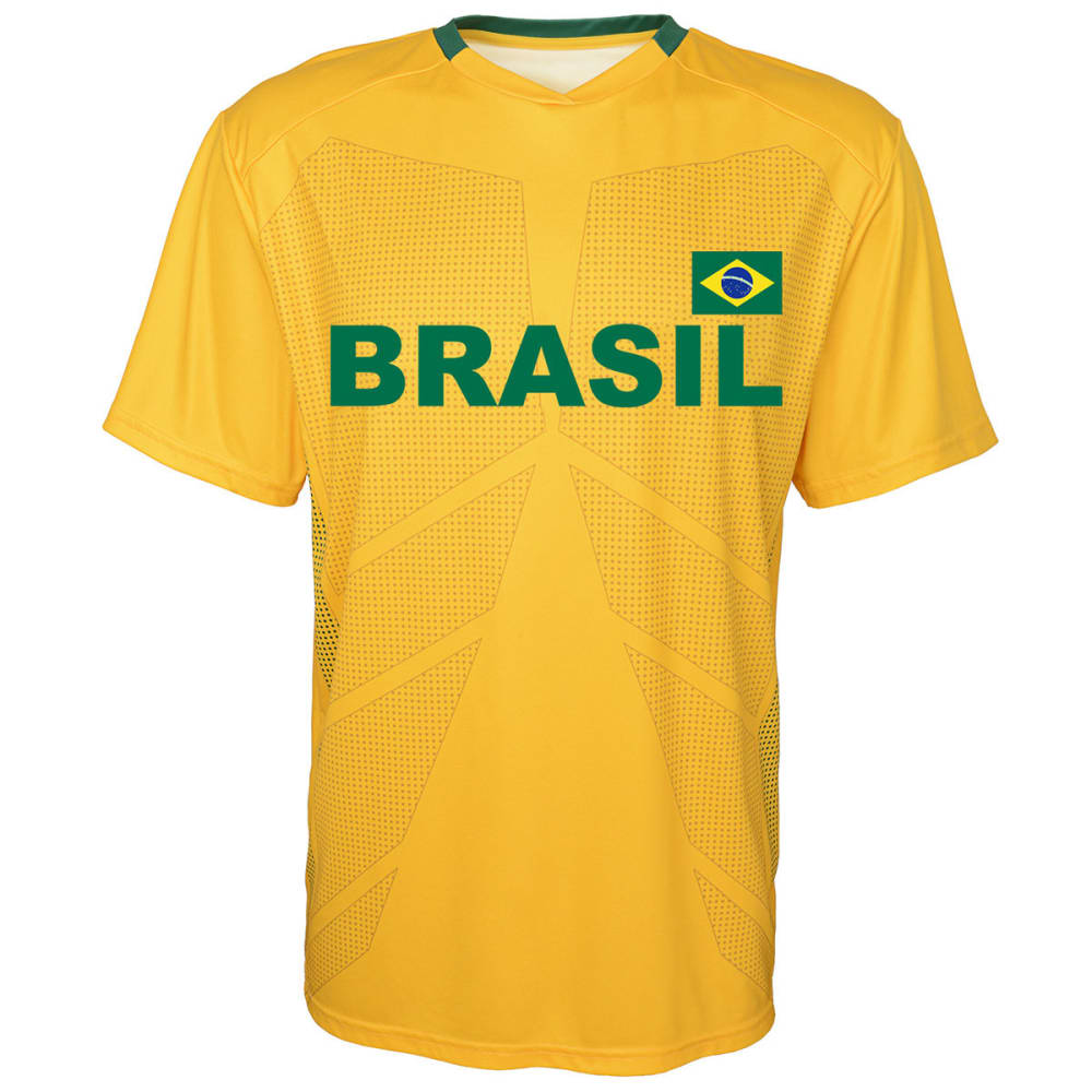 OUTERSTUFF Men's Brazil Short-Sleeve Jersey Tee - YELLOW