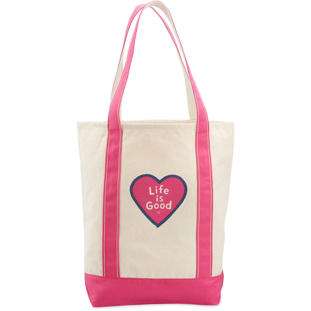 LIFE IS GOOD Women's Heart Carry-On Canvas Tote - FIESTA PINK