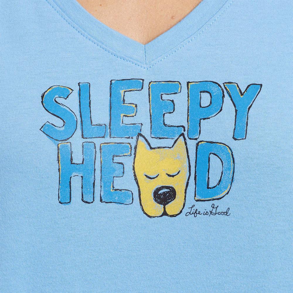 LIFE IS GOOD Women's Sleep Head Sleep V-Neck Tee - POWDER BLUE