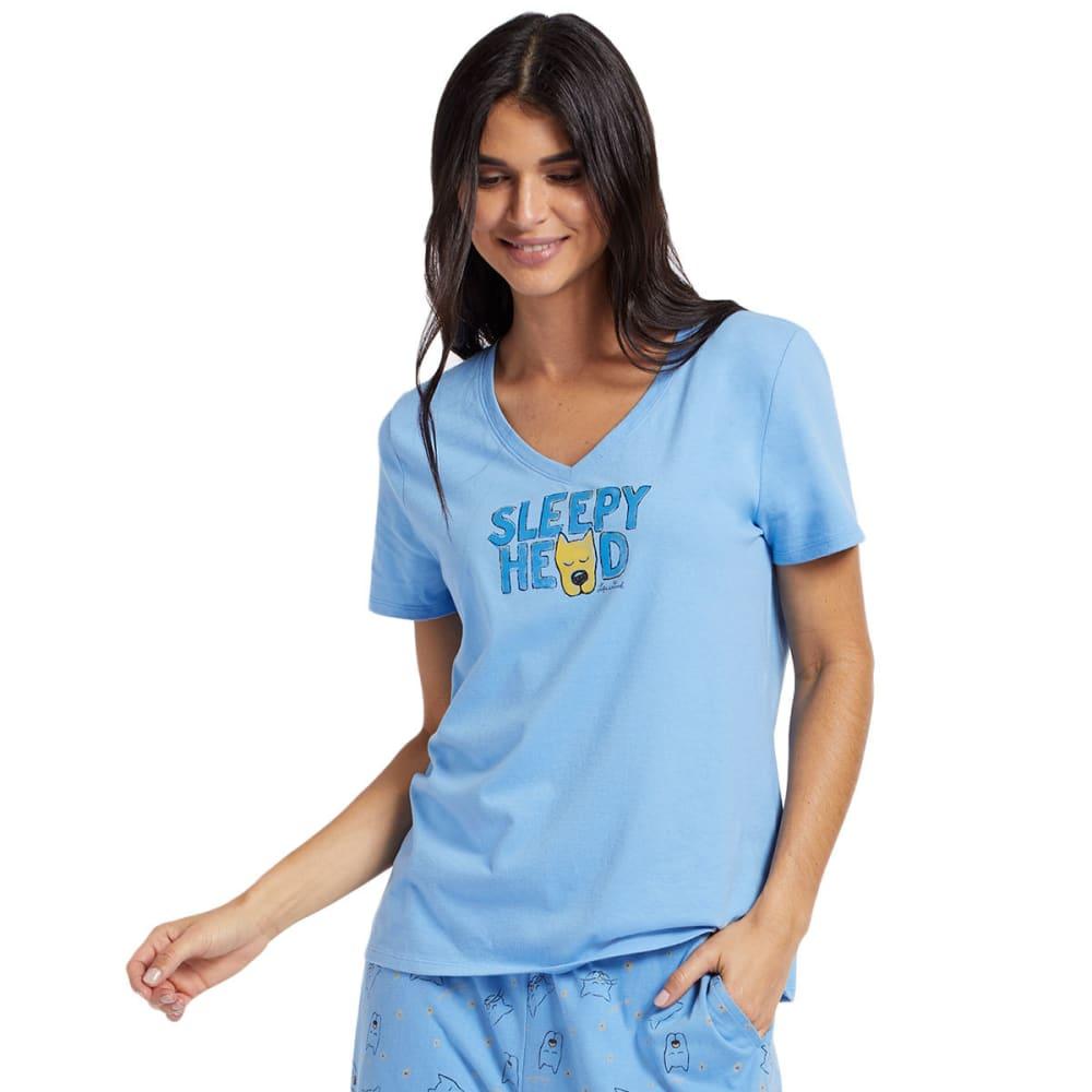 Life Is Good Women's Sleep Head Sleep V-Neck Tee - Blue, S