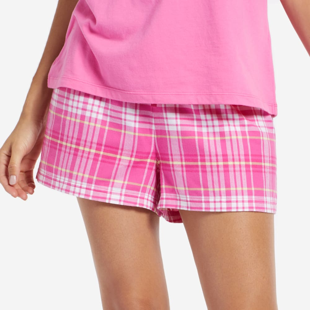 LIFE IS GOOD Women's Plaid Sleep Shorts - TROPICAL PINK