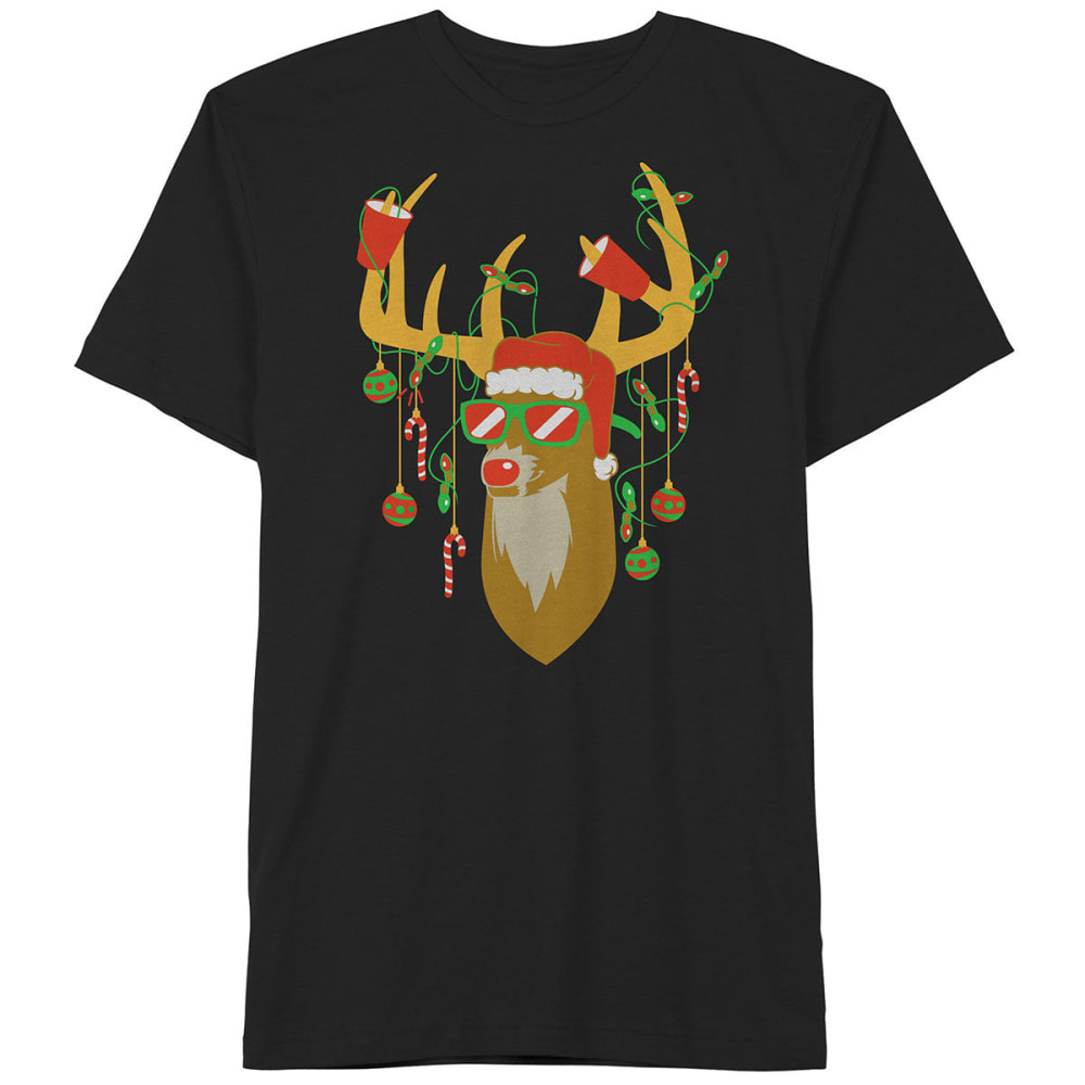 HYBRID Guys' Deer Short-Sleeve Christmas Tee - BLACK