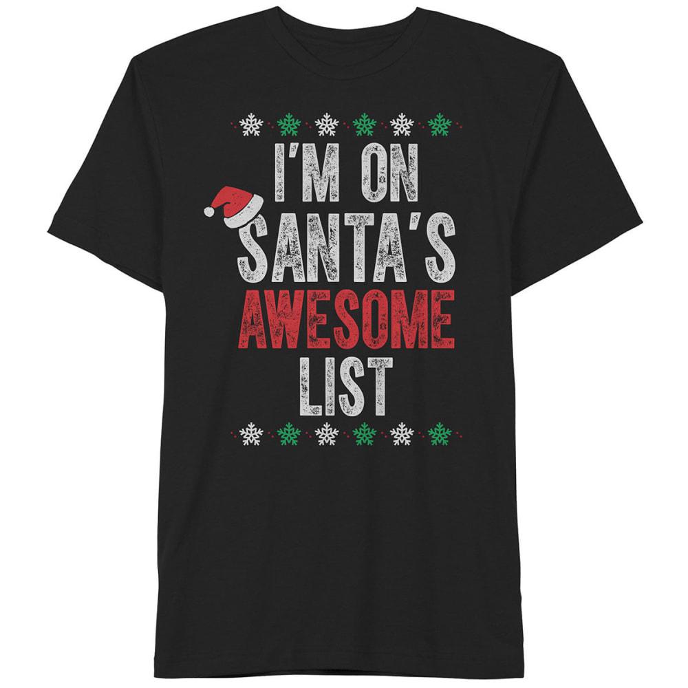 HYBRID Guys' Santa's Awesome List Short-Sleeve Christmas Tee - BLACK