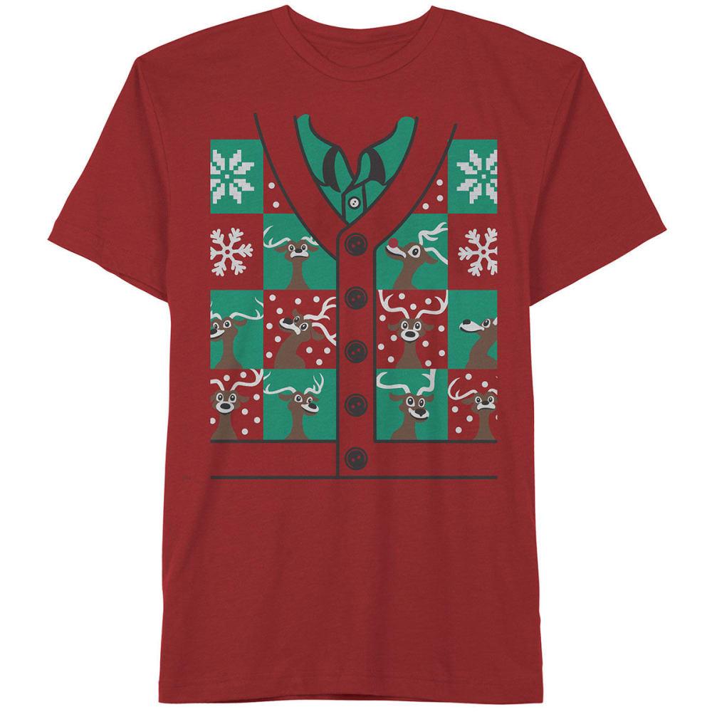 HYBRID Guys' Reindeer Squad Short-Sleeve Christmas Tee - RED